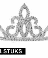 4x prinsessen tiara zilver voor dames trend