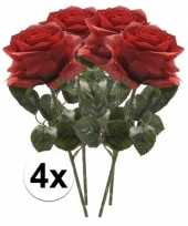 4x rode rozen simone kunstbloemen 45 cm trend