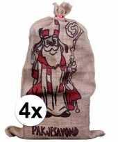 4x sinterklaas zakken van jute 60 x 102 cm trend