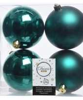 4x smaragd groene kerstversiering kerstballen kunststof 10 cm trend