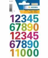 4x stickervellen cijfers gekleurd trend