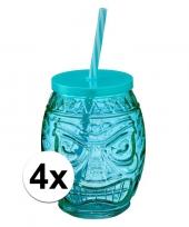 4x tiki glazen drinkpotje drinkglas met deksel 550 ml blauw trend