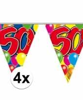 4x vlaggetjes lijn plastic 50 jaar 10 meter trend