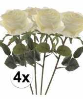 4x witte rozen simone kunstbloemen 45 cm trend