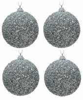 4x zilveren glitter kralen kerstballen 8 cm kunststof trend