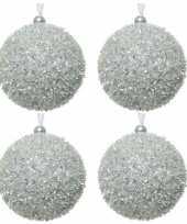 4x zilveren glitter sneeuwbal kerstballen 8 cm kunststof trend