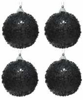 4x zwarte glitter glimmer kerstballen 8 cm kunststof trend