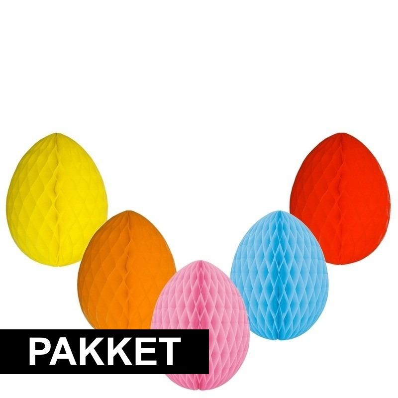 5 decoratie paaseieren pakket vrolijke kleuren 10 cm trend