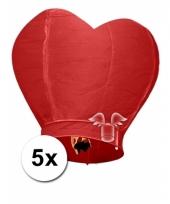 5 hartvormige wensballonnen rood 100 cm trend