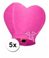 5 hartvormige wensballonnen roze 100 cm trend