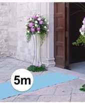 5 meter lichtblauwe decoratie loper 1 meter breed trend