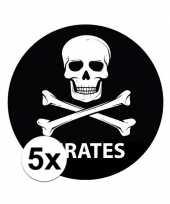5 stuks zwarte piraten stickers 14 8 cm trend
