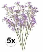 5 x paarse kroonkruid kunstbloemen tak 68 cm trend
