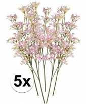 5 x roze kroonkruid kunstbloemen tak 68 cm trend