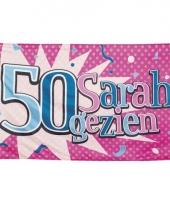 50 jaar gevelvlag sarah gezien 90 x 150 cm trend