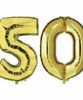 50 jaar gouden folie ballonnen 88 cm leeftijd cijfer trend