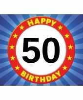 50 jaar stopbord thema stickers 7 5 x 10 5 cm trend
