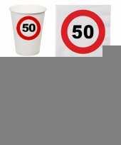 50 jaar tafel versiering pakket verkeersbord trend