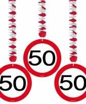 50 jaar versiering stopbord 9x stuks trend