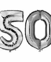 50 jaar zilveren folie ballonnen 88 cm leeftijd cijfer trend