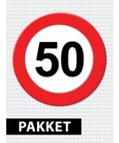 50 jarige verkeerbord decoratie pakket trend