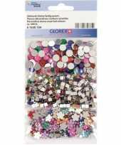 500x gekleurde plak strass steentjes rond vierkant en bloem trend