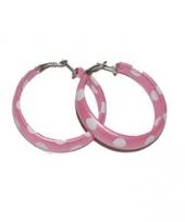 50s accessoires oorbellen roze wit trend
