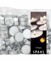 50x witte theelichtjes waxinelichtjes 4 5 branduren in zak trend
