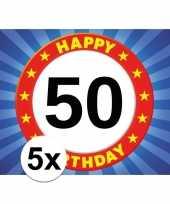 5x 50 jaar stopbord thema stickers 7 5 x 10 5 cm trend