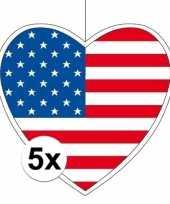 5x amerika hangdecoratie harten 28 cm trend