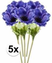 5x blauwe anemoon kunstbloemen tak 47 cm trend