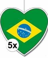 5x brazili hangdecoratie harten 28 cm trend