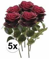 5x donker rode rozen simone kunstbloemen 45 cm trend