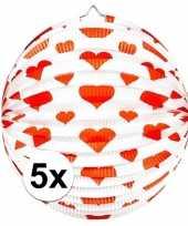 5x feestversiering bol lampion met hartjes print 36 cm trend