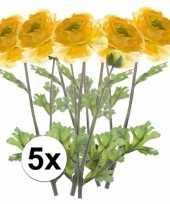 5x gele ranonkel kunstbloemen tak 45 cm trend