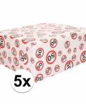 5x inpakpapier cadeaupapier 50 jaar 300 x 70 cm op rol trend