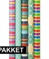 5x inpakpapier rollen voordeelpakket met verschillende prints trend 10124859