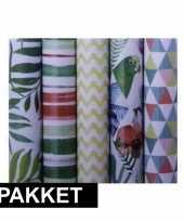 5x inpakpapier rollen voordeelpakket met verschillende prints trend