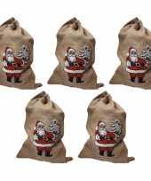 5x jute zakken voor kerstcadeau kerstcadeautjes trend
