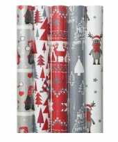 5x kerst inpakpapier met noorse prints 70 x 200 cm trend