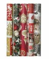 5x kerst inpakpapier met prints 70 x 200 cm trend