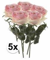 5x licht roze rozen simone kunstbloemen 45 cm trend