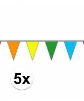 5x luxe regenboog vlaggenlijn voor binnen en buiten trend