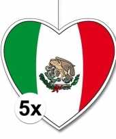 5x mexico hangdecoratie harten 28 cm trend