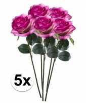 5x paars roze rozen simone kunstbloemen 45 cm trend