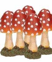 5x paddestoelen rood met witte stippen 8 cm trend