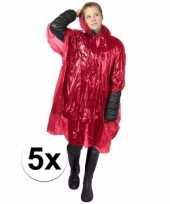 5x rode poncho met capuchon voor volwassenen trend