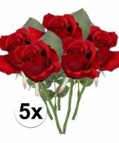5x rode rozen kunstbloemen 30 cm trend