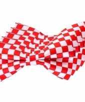5x rood wit geblokte brabant vlinderstrikjes 12 cm dames heren trend
