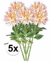 5x roze dahlia kunstbloemen tak 70 cm trend